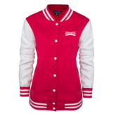 Ladies Pink Raspberry/White Fleece Letterman Jacket-Wordmark Tone