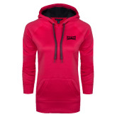 Ladies Pink Raspberry Tech Fleece Hoodie-Wordmark Tone