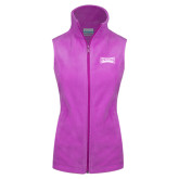 Columbia Ladies Full Zip Lilac Fleece Vest-Wordmark Tone