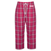 Ladies Dark Fuchsia/White Flannel Pajama Pant-Wordmark Tone