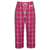 Ladies Dark Fuchsia/White Flannel Pajama Pant-Wordmark Tone
