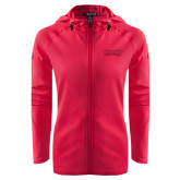 Ladies Tech Fleece Full Zip Hot Pink Hooded Jacket-Wordmark Tone