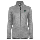 Grey Heather Ladies Fleece Jacket-Spartan w/ Shield