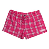 Ladies Dark Fuchsia/White Juniors Flannel Plaid Boxer-Wordmark Tone