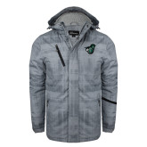 Grey Brushstroke Print Insulated Jacket-Spartan w/ Shield