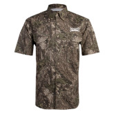Camo Short Sleeve Performance Fishing Shirt-Wordmark Tone
