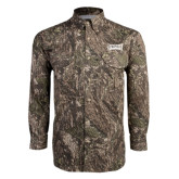 Camo Long Sleeve Performance Fishing Shirt-Wordmark Tone