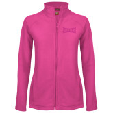 Ladies Fleece Full Zip Raspberry Jacket-Wordmark Tone