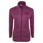 Dark Pink Heather Ladies Fleece Jacket-Wordmark Tone