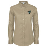 Ladies Khaki Twill Button Down Long Sleeve-Spartan w/ Shield