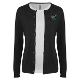 Ladies Black Cardigan-Spartan w/ Shield