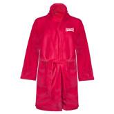 Ladies Pink Raspberry Plush Microfleece Shawl Collar Robe-Wordmark Tone