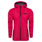 Ladies Dark Fuchsia Waterproof Jacket-Wordmark Tone