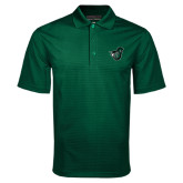 Dark Green Mini Stripe Polo-Spartan w/ Shield