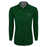 Ladies Dark Green Twill Button Down Long Sleeve-Spartan w/ Shield