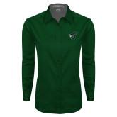 Ladies Dark Green Twill Button Down Long Sleeve-Spartan w/ Shield