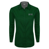 Ladies Dark Green Twill Button Down Long Sleeve-Wordmark
