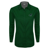 Ladies Dark Green Twill Button Down Long Sleeve-Spartan Head