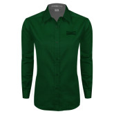 Ladies Dark Green Twill Button Down Long Sleeve-Wordmark Tone