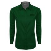 Ladies Dark Green Twill Button Down Long Sleeve-Wordmark Tone