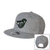 Heather Grey Wool Blend Flat Bill Snapback Hat-Spartan w/ Shield