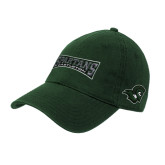 Dark Green Twill Unstructured Low Profile Hat-Wordmark