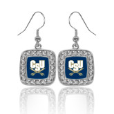 Crystal Studded Square Pendant Silver Dangle Earrings-CSU-Swords Logo