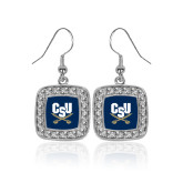 Crystal Studded Square Pendant Silver Dangle Earrings-Primary Athletic Mark