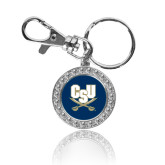 Crystal Studded Round Key Chain-CSU-Swords Logo