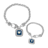 Silver Braided Rope Bracelet With Crystal Studded Square Pendant-CSU-Swords Logo