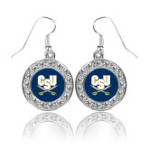 Crystal Studded Round Pendant Silver Dangle Earrings-CSU-Swords Logo