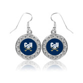 Crystal Studded Round Pendant Silver Dangle Earrings-Primary Athletic Mark