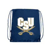 Nylon Navy Drawstring Backpack-CSU-Swords Logo