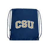 Nylon Navy Drawstring Backpack-CSU Arched
