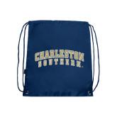 Nylon Navy Drawstring Backpack-Charleston Southern Arched