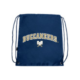 Nylon Navy Drawstring Backpack-Buccaneers Arched