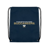 Navy Drawstring Backpack-Charleston Southern Buccaneers Stacked w/ Logo