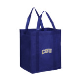 Non Woven Navy Grocery Tote-CSU Arched