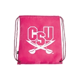 Nylon Pink Drawstring Backpack-CSU-Swords Logo