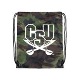 Nylon Camo Drawstring Backpack-CSU-Swords Logo