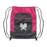 Nylon Pink Raspberry/Deep Smoke Pocket Drawstring Backpack-Primary Athletic Mark