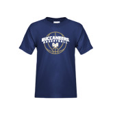 Youth Navy T Shirt-Buccaneers Basketball Arched
