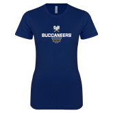Next Level Ladies SoftStyle Junior Fitted Navy Tee-Sharp Net Basketball