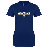 Next Level Ladies SoftStyle Junior Fitted Navy Tee-Football in Bar