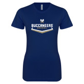 Next Level Ladies SoftStyle Junior Fitted Navy Tee-Baseball Plate