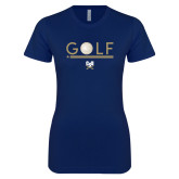 Next Level Ladies SoftStyle Junior Fitted Navy Tee-Golf Star w/ Bars
