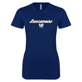 Next Level Ladies SoftStyle Junior Fitted Navy Tee-Buccaneers Script