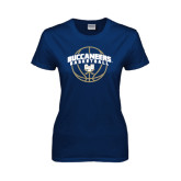 Ladies Navy T Shirt-Buccaneers Basketball Arched
