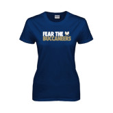 Ladies Navy T Shirt-Fear The Buccaneers