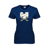 Ladies Navy T Shirt-CSU-Swords Logo Distressed